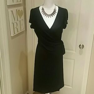 Black Studio M Knit Wrap Dress Sz L 12 14